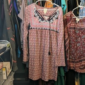 Red/Blue Lucky Peasant Dress Size M Fits L